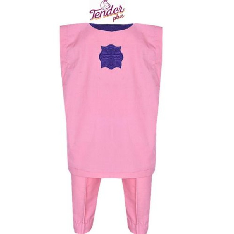 Baby Pink Danshiki Native With Purple Embroidery | Children's Clothing for sale in Lagos State, Ojodu